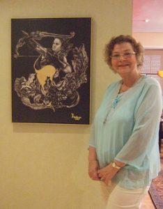 Die Astrologin vor dem Tierkreiszeichen Schütze, gemalt von Yulvia Puradiredja.